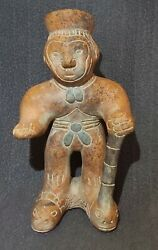 Mayan Pre Columbian Clay Pottery Figure Statue Man Footed W/ Cane Very Nice Item