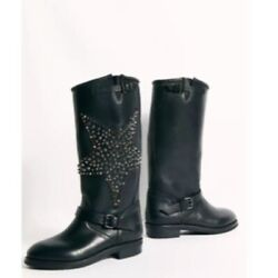 Esseutesse X Free People Star Black Leather Studded Moto Boots Womenand039s 39