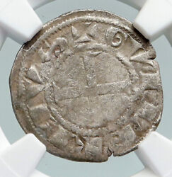 1207 Ad France Feudal Deols William I Old Medieval Silver Denier Ngc Coin I91604