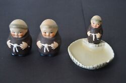 Goebel Friar Tuck Monks - Candy Dish Sizes Zf 43/0 - W/ Salt Pepper Shakers