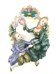 Vintage German Porcelain Wall Plaque Courting Couple High Relief Figurines 12