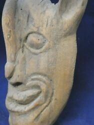 Mexican Devil Mask Antique Carved Wood Guerrero Mexico Diablo Snake Mask 1900