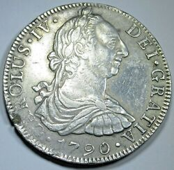 1790 Spanish Mexico Silver 8 Reales Antique Colonial 1700and039s Dollar Pirate Coin
