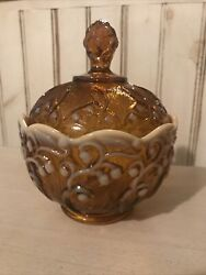 Fenton Amber Opalescent Lily Of The Valley Covered Candy Bowl