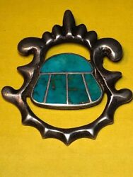 Very Old And Unique Sandcast Native American Pin Of Clean Cut Blue Gem Turquoise