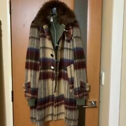Used 2018 Autum Winter Sacai Mohair Wool Check Docking Coat Mens Free Size
