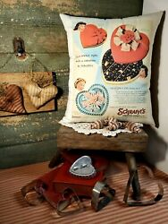 Vintage Style Valentine Heart Schrafft's Candy Package Box Advertising Pillow