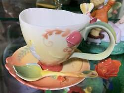 Used Disney Franz Collection Alice In Wonderland Tea Cup Saucer Spoon Set Rare
