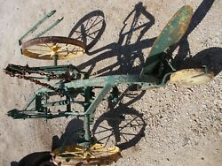 Oliver Moline 2 Bottom Steel Wheel Pull Type Plow Painted Yellow And Green