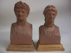 Lg 10andrdquo Apollo And Diana Bust Statue Roman Greek God Gold Gilt Wood Bases Classical