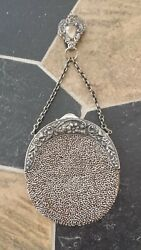 Antique Ladies Coin Purse Leather Inside Metal Beads Floral Design Clip On