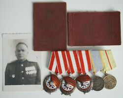 Very Rare Three Orders Of The Red Banner And Тwo Medals With The Document
