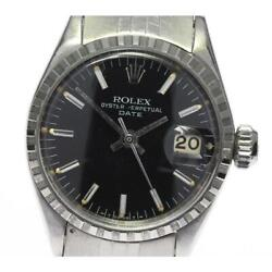 Rolex Oyster Perpetual Date 6524 Cal.1160 Automatic Ladies Black Dial [e0518]