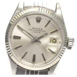 Rolex Oyster Perpetual Date 6517 Cal.1160 Automatic Ladies Silver Dial [e0518]