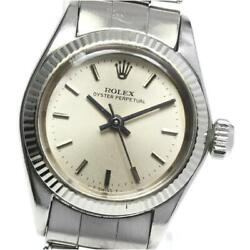 Rolex Oyster Perpetual 6619 Cal 1161 Automatic Ladies Silver Dial Ss [e0518]