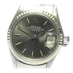 Rolex Oyster Perpetual Date 6517 Cal.1161 Automatic Ladies Gray Dial [e0518]