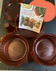 Tupperware Stack Cooker System Set Microwave Steamer Red With Recipe Book