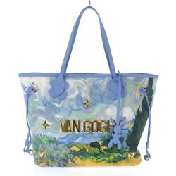 Auth Louis Vuitton Neverfull Mm M43331 Light Blue Masters Collection Tote Bag