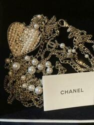 Auth Long Necklace Pearl Heart Coco Mark Cc Logo F/s