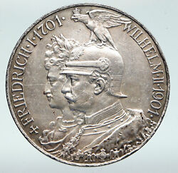1901 Germany German States Prussia Wilhelm Ii Antique Silver 5 Mark Coin I91584