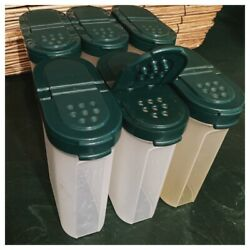 Vintage Tupperware Modular Mates Containers Storage 6 Green Spice Jars Shakers
