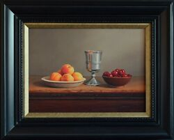 Contemporary Realism Original Still Life Oil Painting Fruit Pewter Signed