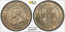 Jamaica 1 Penny Unc Coin 1928 Year Km26 Grading Pcgs Ms64 George V