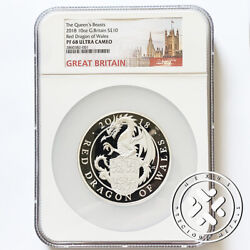 2018 Ngc Pf 68 Ultra Cameo 10 Oz Silver Proof Coin Queen Beasts Red Dragon