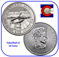 2019 Canada Orca Whale 2 Oz Silver Coin -- Tube/roll Of 14 Canadian Coins