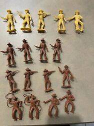 60and039s Vintage Plastic Figures Cowboys Bank Robbers Brown Mpc Marx Playsets Yellow