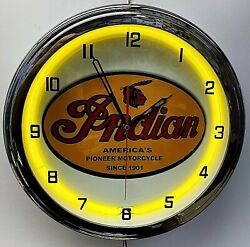 16 Indian Motorcycle Since 1901 Old Sign Yellow Neon Clock