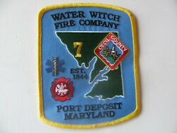 Port Deposit Maryland Md Water Witch Fire Dept Patch Iron On 4andrdquo Rare Logo