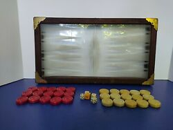 Vtg Marbled Red Butterscotch Bakelite Backgammon Chess 30pcs Dices Doubling Cube
