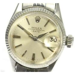 Rolex Oyster Perpetual Ref.6517 Date Cal.1130 Automatic Ladies Silver [e0519]