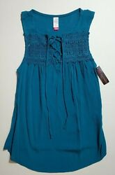 NOBO No Boundaries Juniors Lace up Tank Crochet Front Rayon Teal S 3 5 NEW FAST $13.95