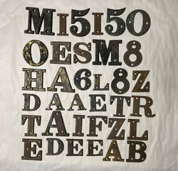 Lot Of 35 Old Vtg Small Brass Alphabet Letters Numbers House Address Sign