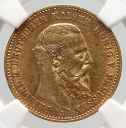 1888 A Prussia Germany King Friedrich Iii Antique Gold 10 Mark Coin Ngc I91648