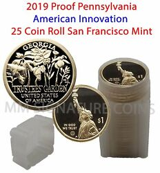 2019 Proof Georgia American Innovation Golden Dollar Coin Roll - 25 Coins