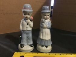Vintage Porcelain Boy And Girl Figurines - Both 4 1/4 Tall - Baby Blue - German