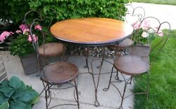 Vintage Ice Cream Parlor Table And Chairs Tiger Oak 36 Table Iron Heart Design