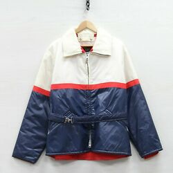 Vintage Sears Puffer Jacket Size Large Red White Blue Belted Insulated Talon Zip