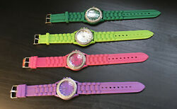 Lot Of 4 Silicone Band Geneva Women's Wrist Watches Stopped Parts