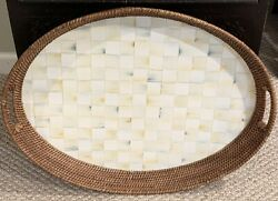 """Mackenzie-childs Parchment Check Rattan Tray-large -some Rattan Wear - 26"""" Long"""