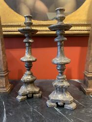 Pair Of 18th Century Antique Italian Silver-plated Altar Candlesticks