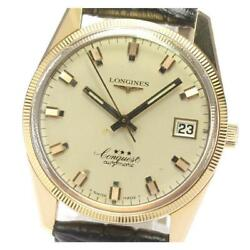 Longines K18pg Conquest 8062 2 Cal.505 Date Automatic Menand039s Gold Dial [e0520]