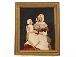 Miniature Margaret Nine Hand Colored Portrait Of Mrs. Freake And Baby Mary E374