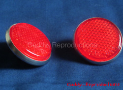 1957 Cadillac Tail Light Reflector Dots - Pair - Replacement Version - With Back