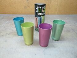 West Bend Aluminum Color Glo Tumblers Unused Wheat Pattern Blue Green Gold Tube