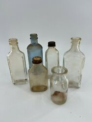 Vintage Antique Lot Of Medical Small Bottles - Blue Clear Class Early 1900s