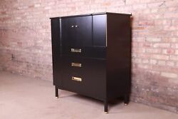 John Widdicomb Mid-century Hollywood Regency Black Lacquered Gentlemanand039s Chest